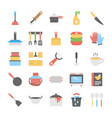 kitchen utensils flat icons collection vector image