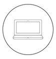 laptop the black color icon in circle or round vector image vector image