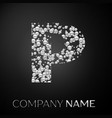 letter p logo silver dots alphabet logotype vector image vector image