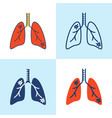 lung pneumonia icon set in line style vector image