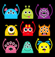 monster head face icon set happy halloween cute vector image vector image