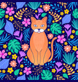 orange cat and tropical flowers vector image vector image