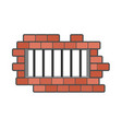 Prison grill and wall window in prison with bars vector image