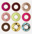 round donut minimalistic flat set vector image vector image