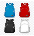 school rucksack kids backpacks front view travel vector image