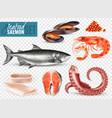 seafood cocktail transparent set vector image