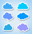 Set of 6 paper colorful clouds vector image