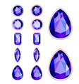 set of five forms of violet gemstone vector image vector image