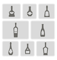 set of monochrome icons with bottles vector image