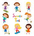 set of summer childs outdoor activities vector image
