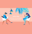 social media leisure flat banner template vector image vector image