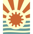 sun rays backdrop with gear and wrench icon vector image vector image