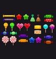 supe set of different sweets on black background vector image vector image