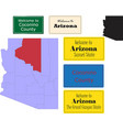 us arizona state coconino county map and road sign vector image vector image