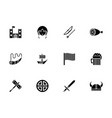 viking accessories glyph style icons set vector image