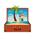 vintage suitcase couple inside with beach palm vector image