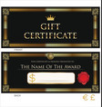 voucher gift certificate coupon black and gold vector image vector image