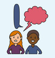 young couple with speech bubbles vector image