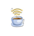 cup of coffee or tea free wifi for street cafe vector image