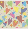 background of hearts and butterflies vector image vector image