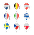 balloons with countries flags set vector image