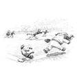 baseball in jungleville 3 vintage vector image vector image