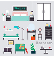 Bedroom Furniture and Accessories vector image vector image