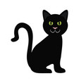 black cat sitting domestic animal flat icon vector image