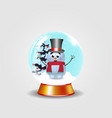 christmas new year crystal snow globe with cute vector image vector image