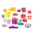colorful gift packages set - lots present boxes vector image