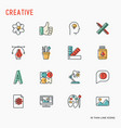 Creative thin line icons set
