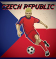 czech republic soccer player with flag background vector image vector image
