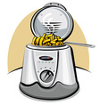 deep fryer and chips vector image