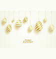 easter day celebration with golden eggs decoration vector image