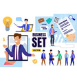 effective management and business set flat vector image vector image