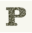Elegant capital letter P in the style Baroque vector image vector image