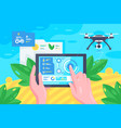 flat hand with tablet drone at field for smart vector image vector image