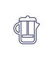 french press icon on white line vector image
