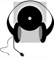 headphone and disc vector image vector image