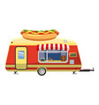 hot dog trailer mobile snack icon cartoon style vector image