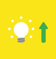 icon concept of glowing light bulb with arrow vector image vector image