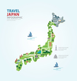 Infographic travel and landmark japan map vector image vector image