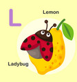 isolated animal alphabet letter l-lemon ladybug vector image