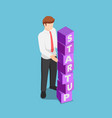 isometric businessman arranging blocks with the vector image vector image
