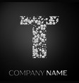 letter t logo silver dots alphabet logotype vector image