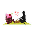 lover of cakes man and piece of cake on picnic vector image vector image