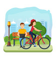man running on freelance rest girl rides bicycle vector image vector image