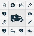 medicine icons set collection of bus rhythm vector image vector image