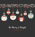 merry christmas cute retro bauble greeting card vector image
