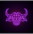 neon buffalo sign glowing buffalo emblem vector image vector image
